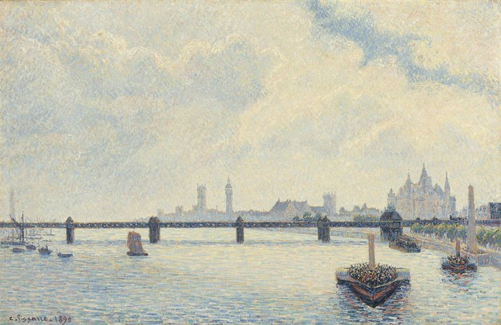 Camille Pissarro, Charing Cross Bridge, London, French, 1830 - 1903, 1890, oil on canvas, Collection of Mr. and Mrs. Paul Mellon